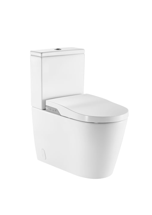 In-Wash® - Smart toilet adosado a pared con salida dual. Incluye cisterna, tapa y asiento. Necesita toma de red.