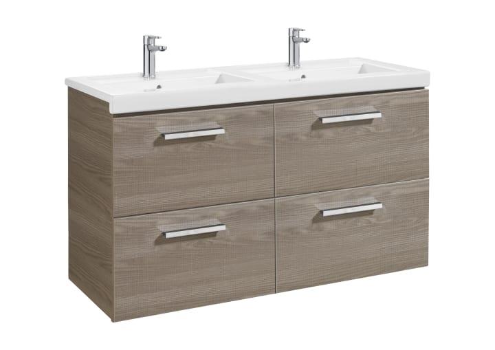 Unik mueble base con cuatro cajones y lavabo doble for Lavabo doble seno con mueble