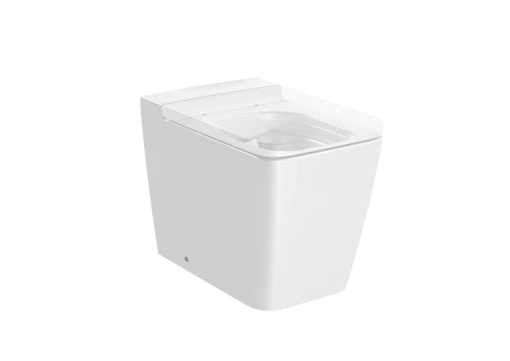 SQUARE - Taza Rimless adosada a pared con salida dual para inodoro de tanque alto, tanque empotrable o fluxor. Incluye juego de fijación.