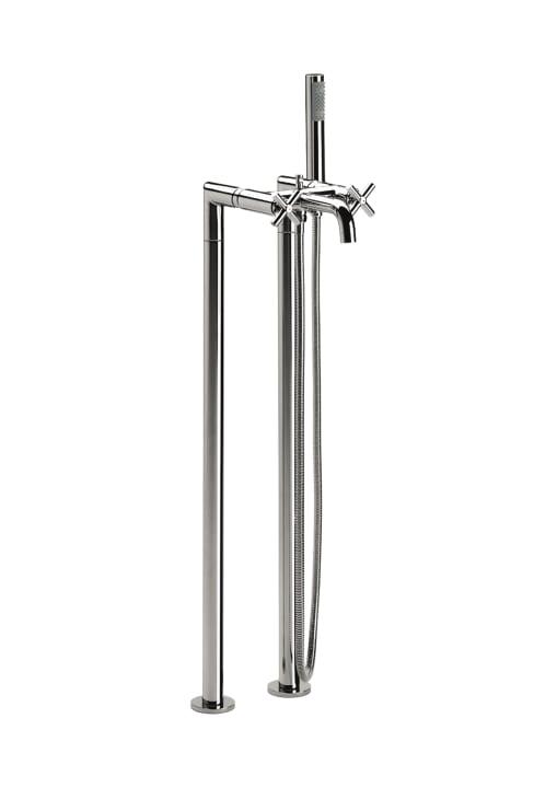 Mezclador bimando exterior con inversor automático con retención para baño-ducha, ducha de mano, flexible de 1,75 m , soporte articulado y columnas verticales de alimentación