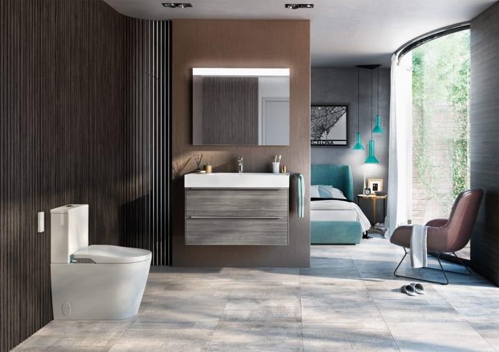 Square lavabo de fineceramic de sobre encimera for Mueble inspira roca