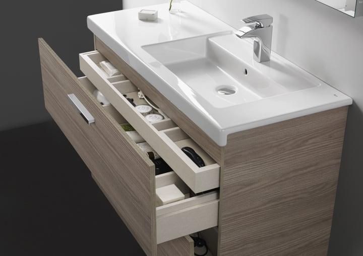 Pack mueble base con dos cajones lavabo doble y espejo - Lavabo doble seno ...