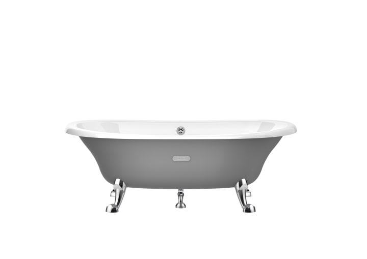 Oval cast iron bath with grey exterior & anti-slip base