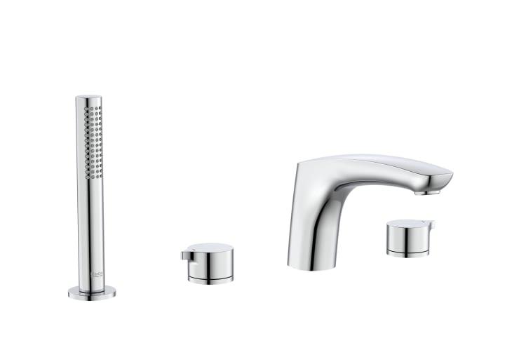 Mezclador bimando de repisa para baño-ducha con caño central de 197mm, ducha de mano y flexible de 1,70m