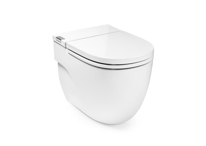 IN-TANK - Floor standing back-to-wall toilet with integrated cistern. Includes seat and cover. Needs power supply.