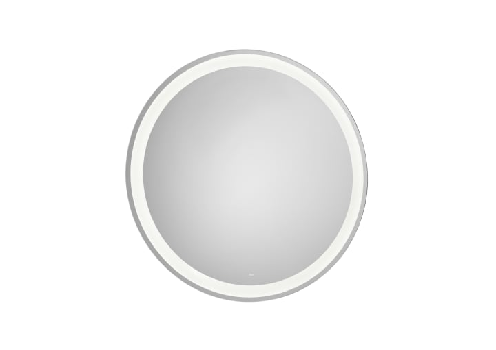 Round mirror with perimetral LED lighting and demister device