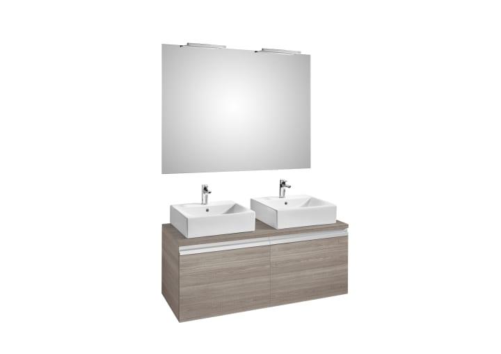 Pack (mueble base para dos lavabos sobre encimera con dos cajones ...