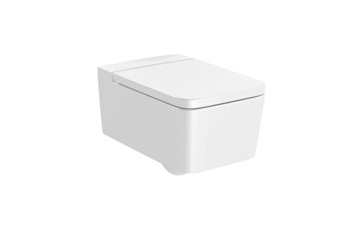 SQUARE - Vitreous china Rimless wall-hung WC with horizontal outlet
