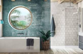 Espacio de baño con bañera y plato de ducha