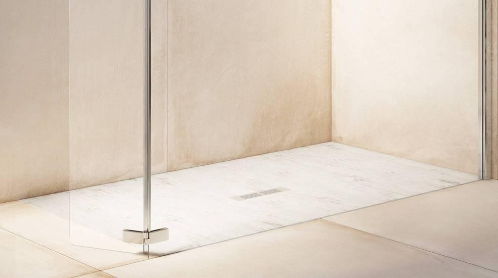 Plato de ducha Helios de Stonex® en acabado blanco
