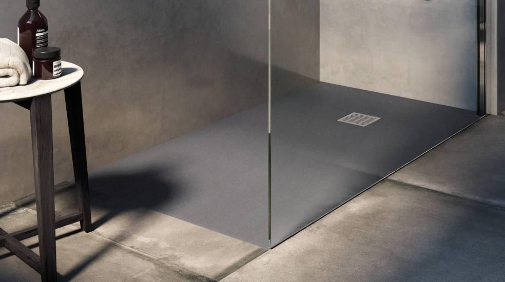 Plato de ducha Terran de Stonex® en acabado negro