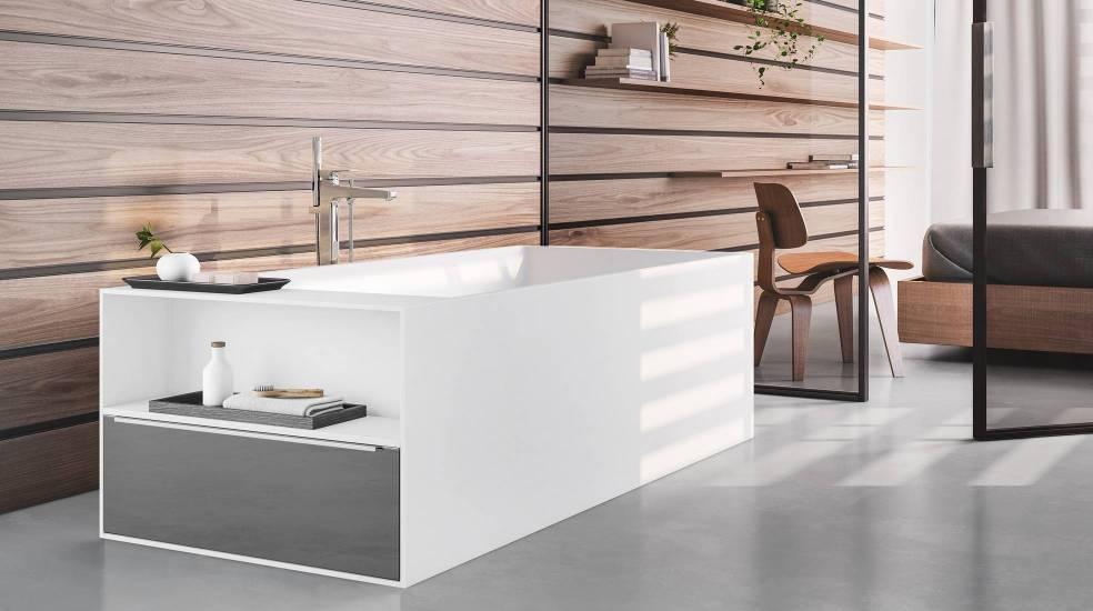 Bañera Modo de Roca con cajón y estante