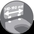 Distancia necesaria entre los orificios del asiento para la instalación: 140-160 mm